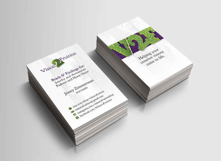 Vision2Fruition business cards