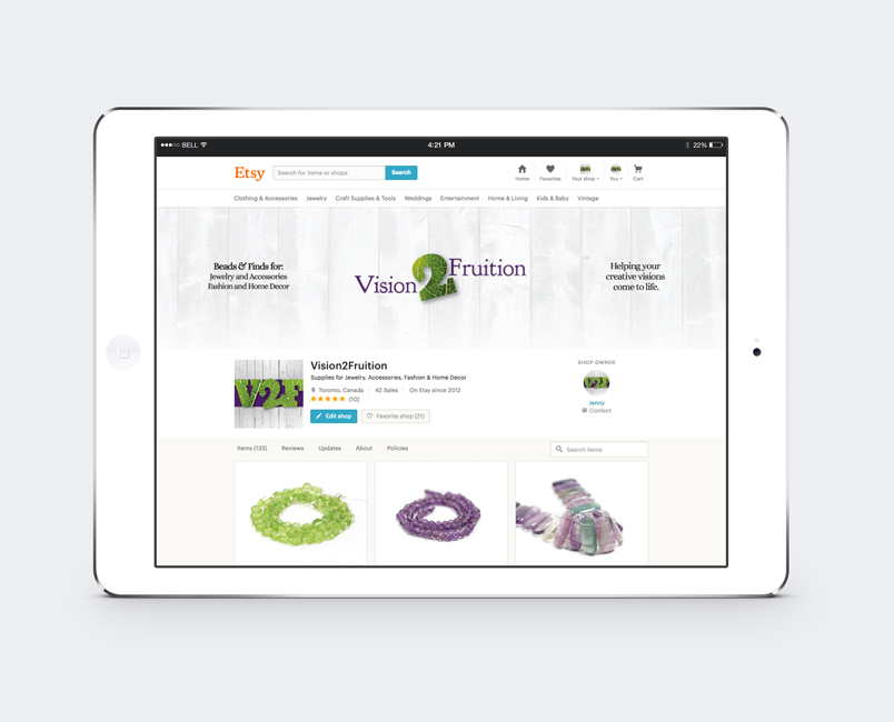 Vision2Fruition Etsy shop